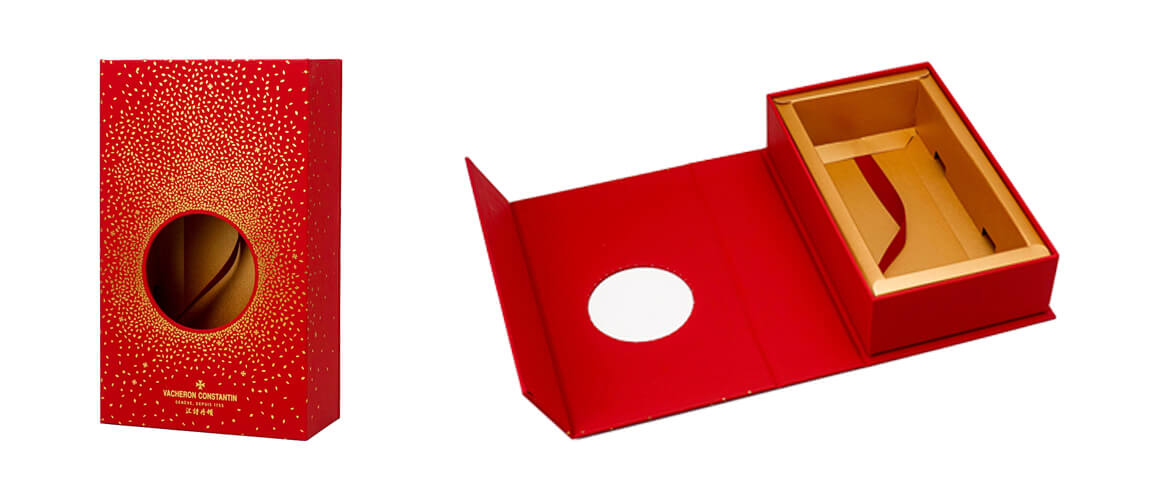 Magnetic Closure Box With Paperboard Insert Spray Gold Metallic Varnish