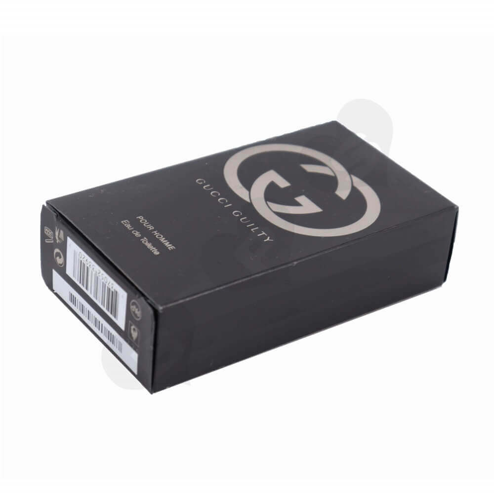 Matt Black Men's Perfume Box with Silver Stamping and Embossing side view four