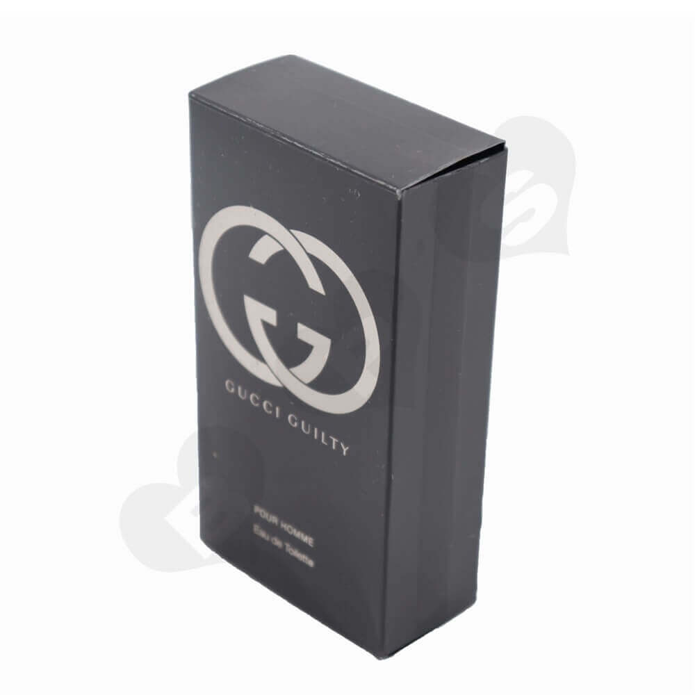 Matt Black Men's Perfume Box with Silver Stamping and Embossing side view one