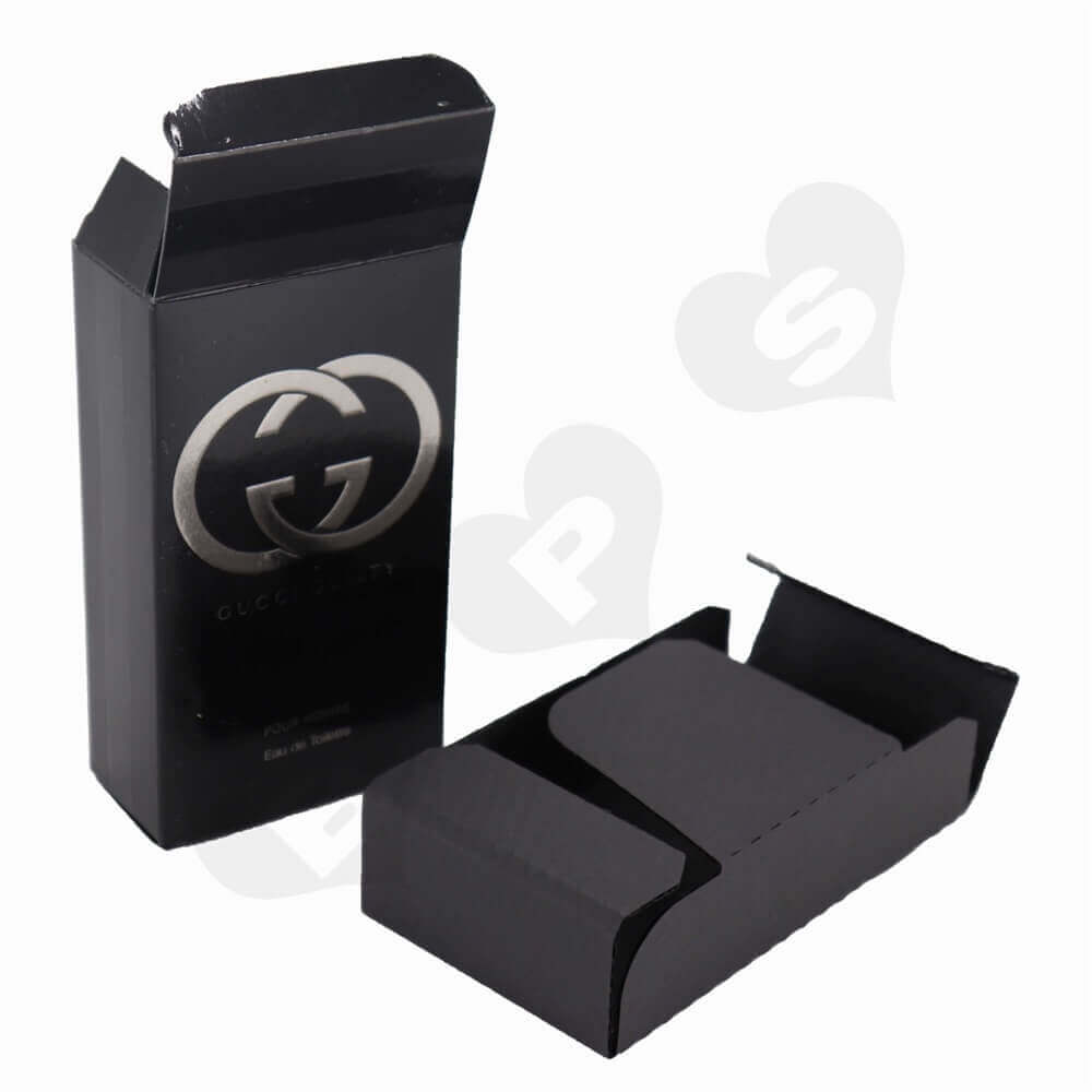 Matt Black Men's Perfume Box with Silver Stamping and Embossing side view three