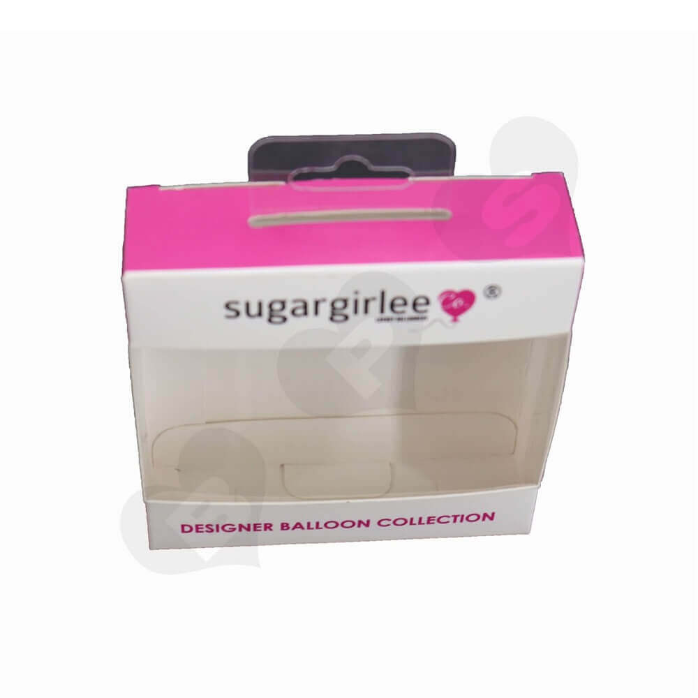 Pink Paperboard Box for Balloons side view three