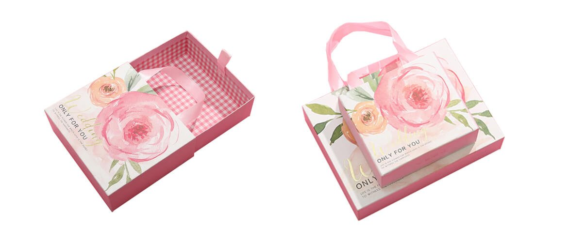 Pink color decorated drawer gift box with silk handle