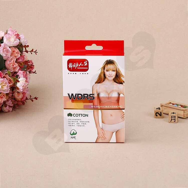 Printed Cardboard Hanger Box With Window For Underwear side view two