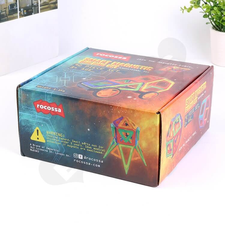 Printed Corrugated Mailer Box For Magnetic Building Set side view three