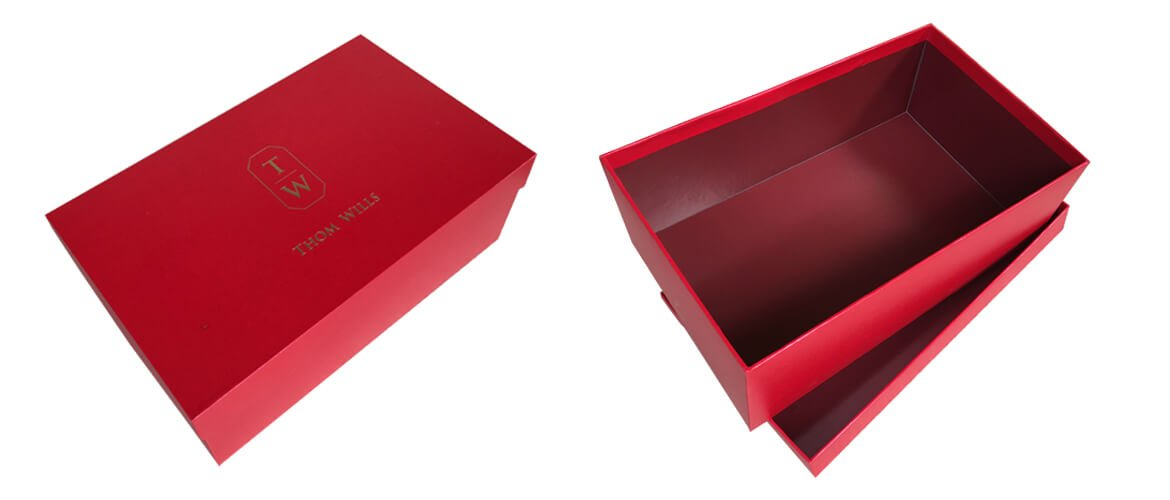 Rigid board top and bottom shoes packaging boxes