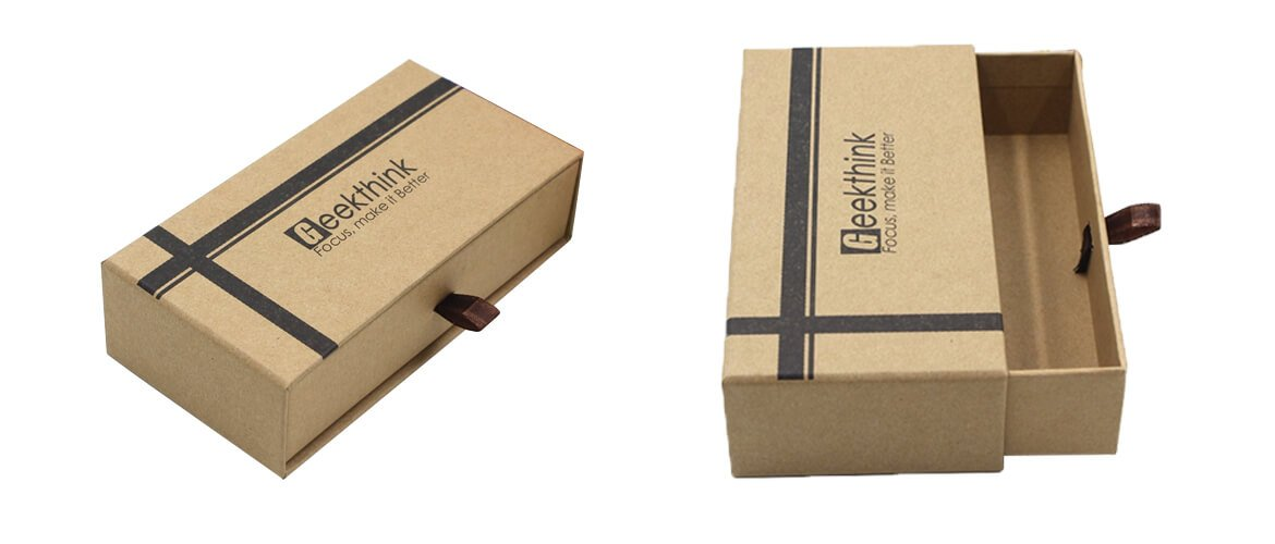 Rigid drawer with soft kraft paper sleeve packaging