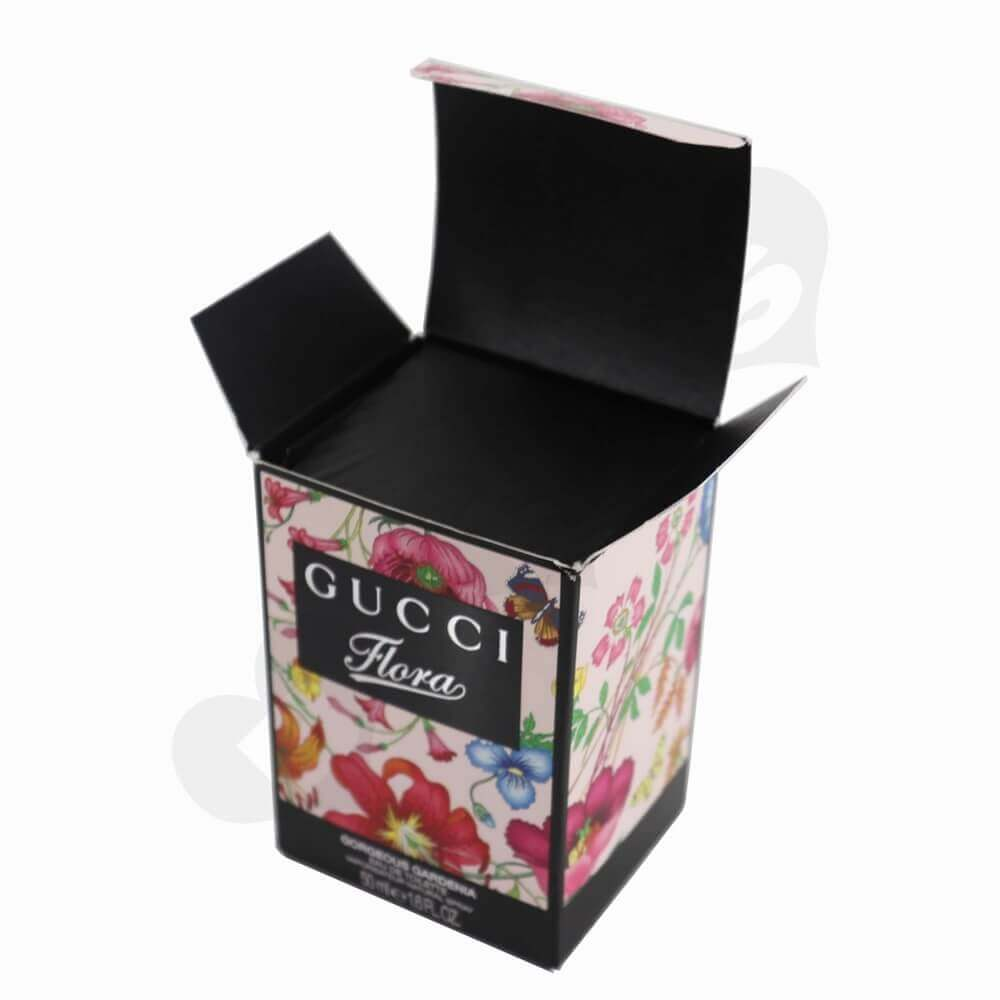 Silver Foiled Luxury Perfume Packaging Box with Black Inserts side view four