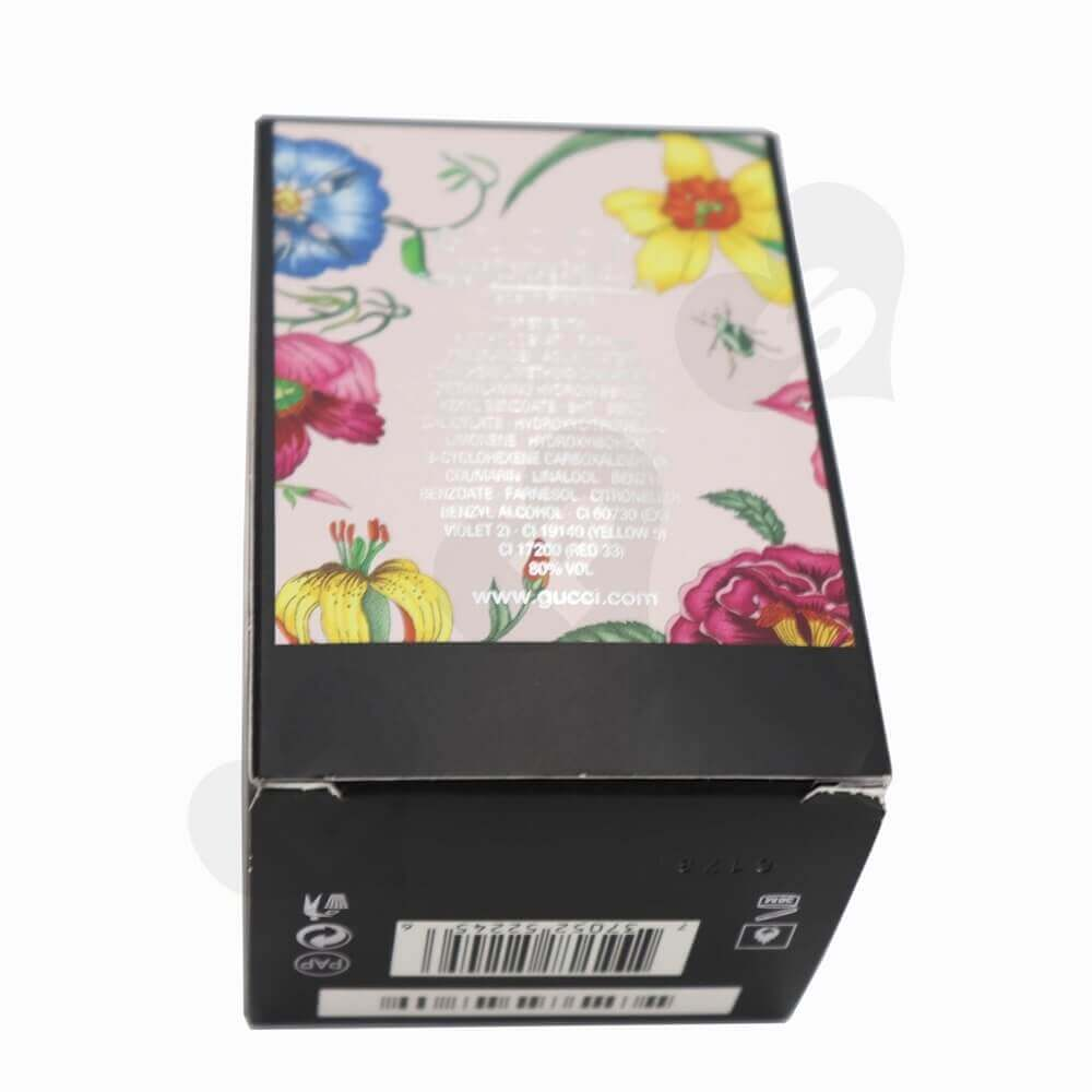Silver Foiled Luxury Perfume Packaging Box with Black Inserts side view three