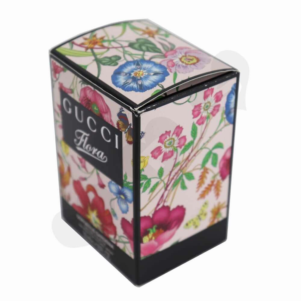 Silver Foiled Luxury Perfume Packaging Box with Black Inserts side view two