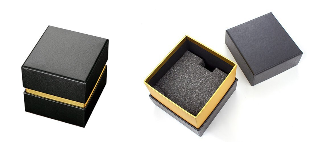 Three piece top and bottom style box exposed neck coated with gold paper