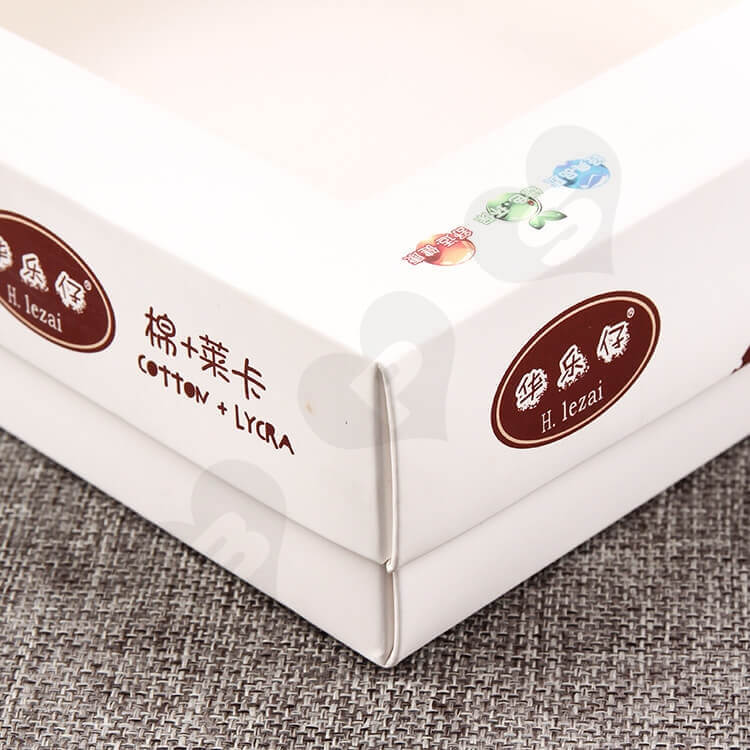 White Cardboard Box With Plastic Window For Clothes side view four