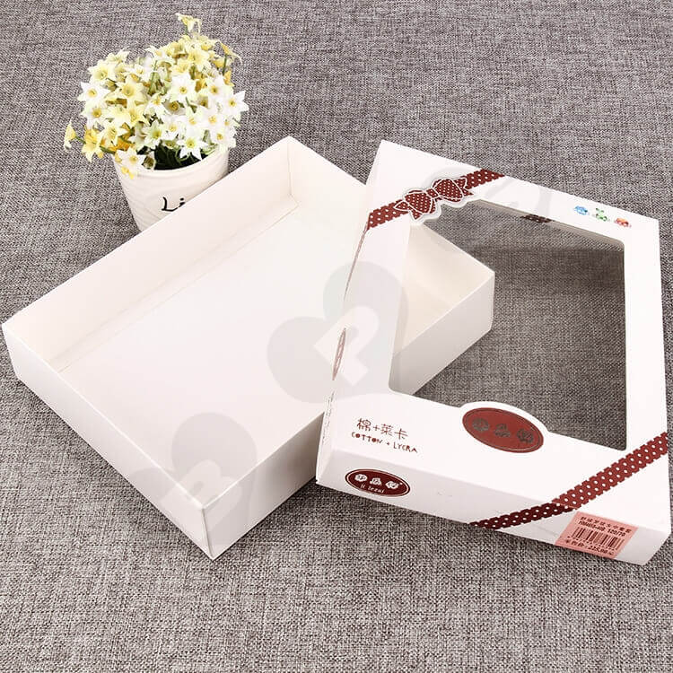 White Cardboard Box With Plastic Window For Clothes side view one