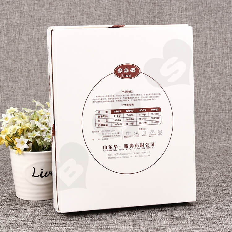 White Cardboard Box With Plastic Window For Clothes side view three