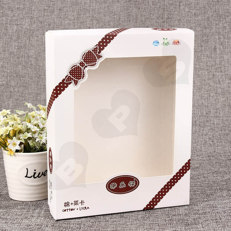 White Cardboard Box With Plastic Window For Clothes side view two