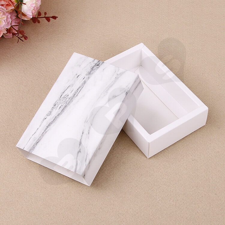 White Cardboard Drawer Box For Marble side view one