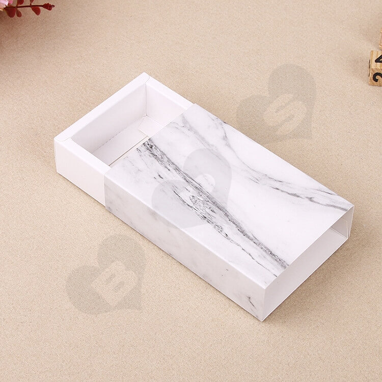White Cardboard Drawer Box For Marble side view three