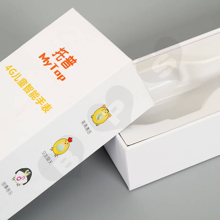 White Cardboard Gift Box For Children's Watch side view five