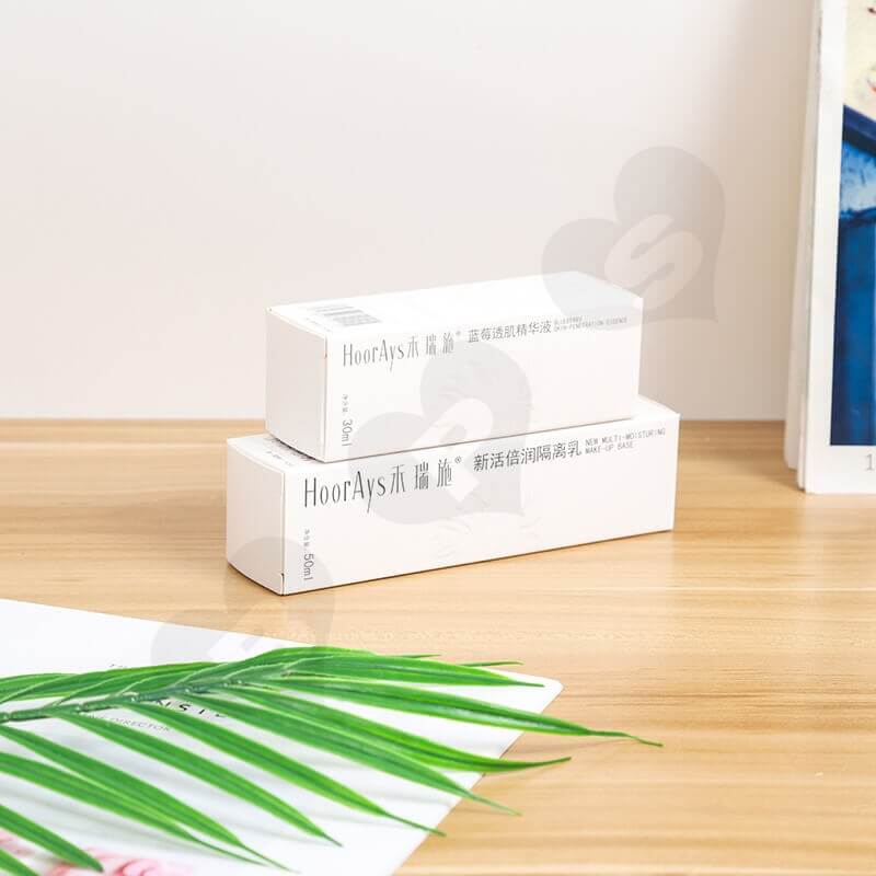 White Cardboard Packaging Box For Isolation Lotion side view one