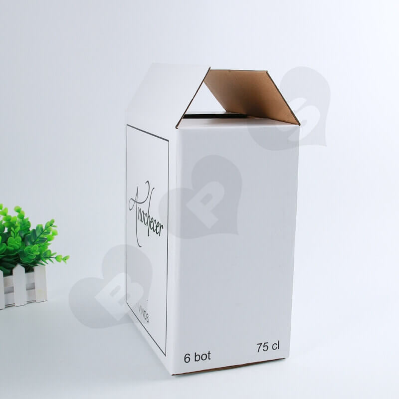 White Kraft Shipping Box For Wine side view six