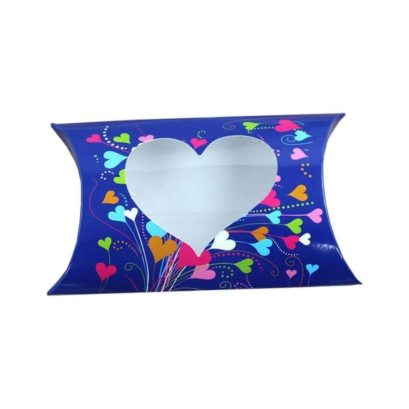 art paper material pillow box with clear window
