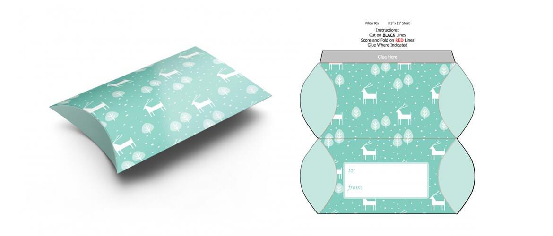 pillow box die cut template