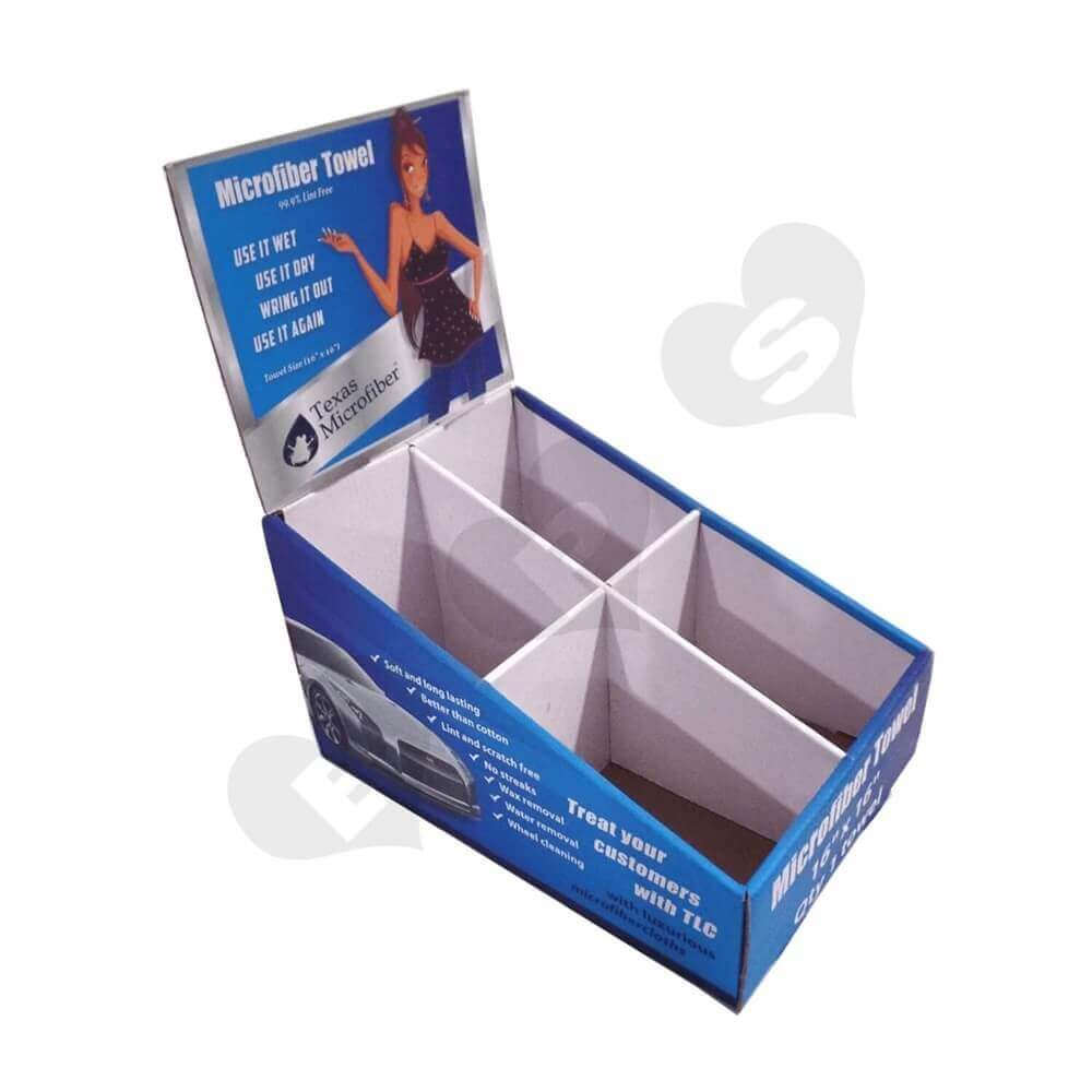 Car Towel Counter Display Box Sideview Two