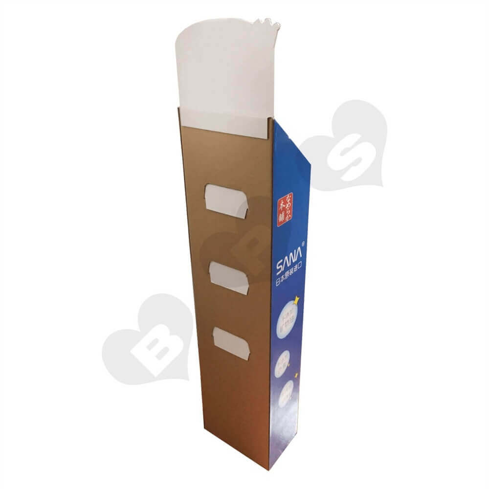 Cardboard Corrugated Cosmetic Shelf Sideview Three