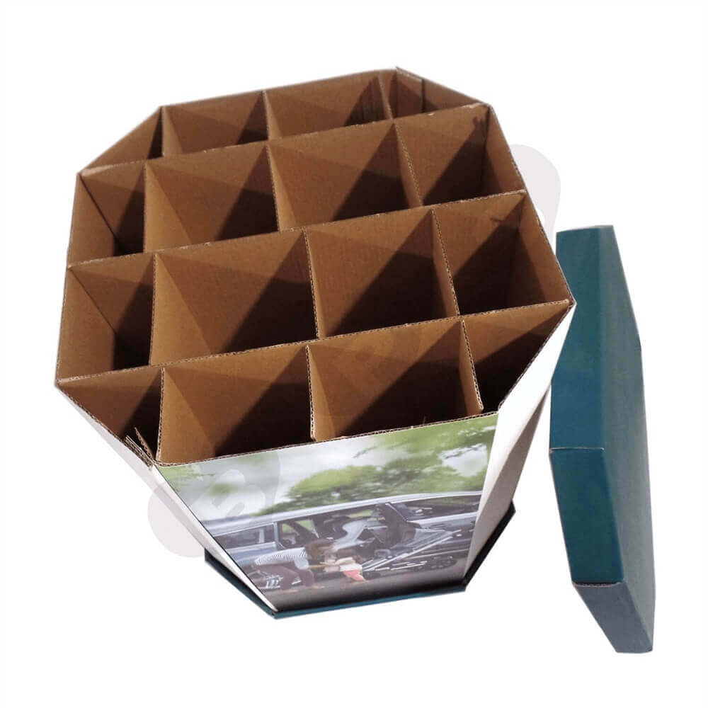 Corrugated Dump Bin with Insert and Removable Lid Sideview Three