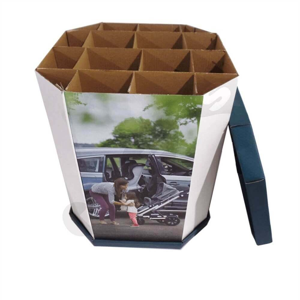 Corrugated Dump Bin with Insert and Removable Lid Sideview Two