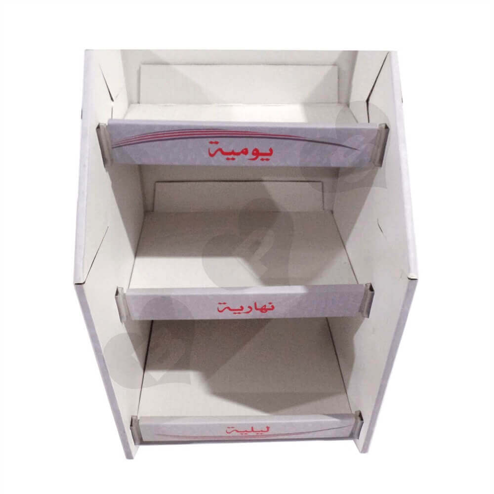 Corrugated Sanitary Napkin Display Shelves Sideview Five