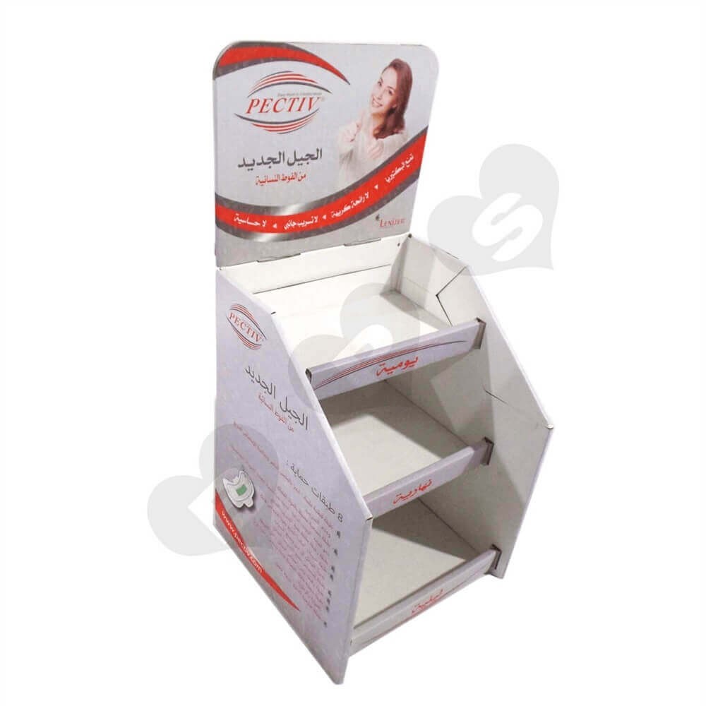 Corrugated Sanitary Napkin Display Shelves Sideview Three