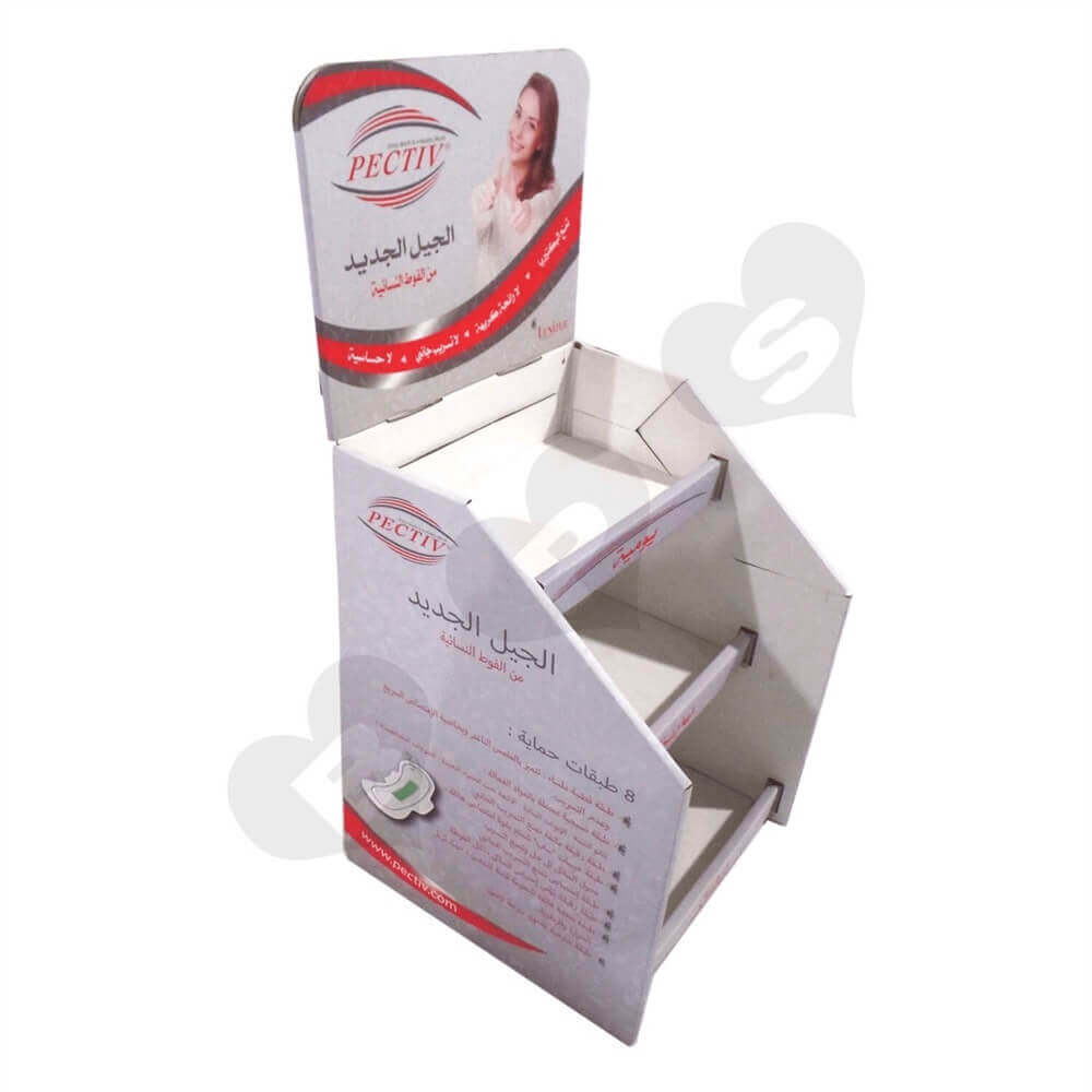 Corrugated Sanitary Napkin Display Shelves Sideview Two