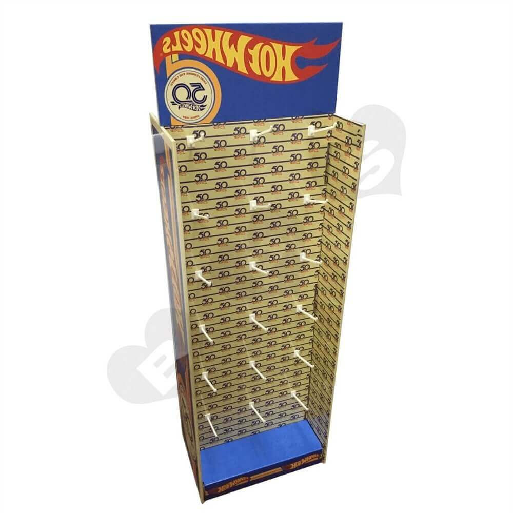 Custom Corrugated Hot Wheels Floor Stand with Hooks Sideview One