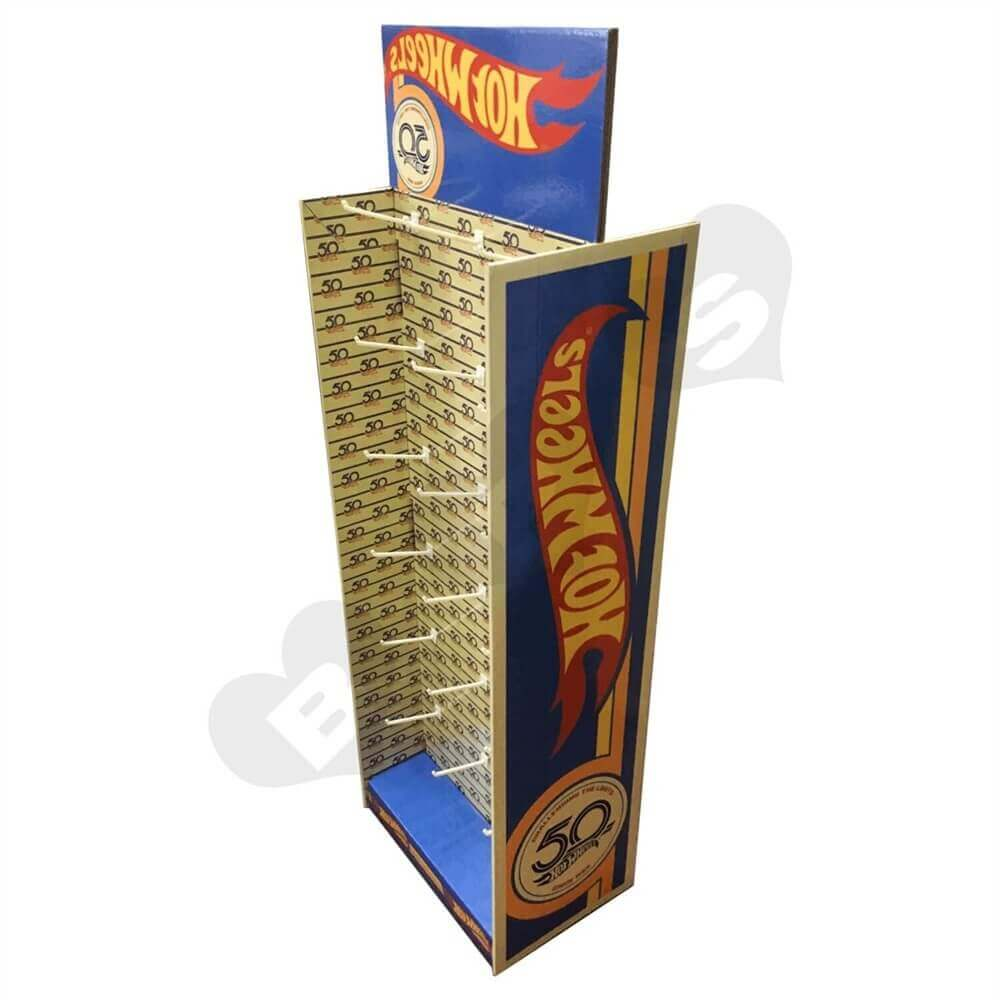 Custom Corrugated Hot Wheels Floor Stand with Hooks Sideview Three