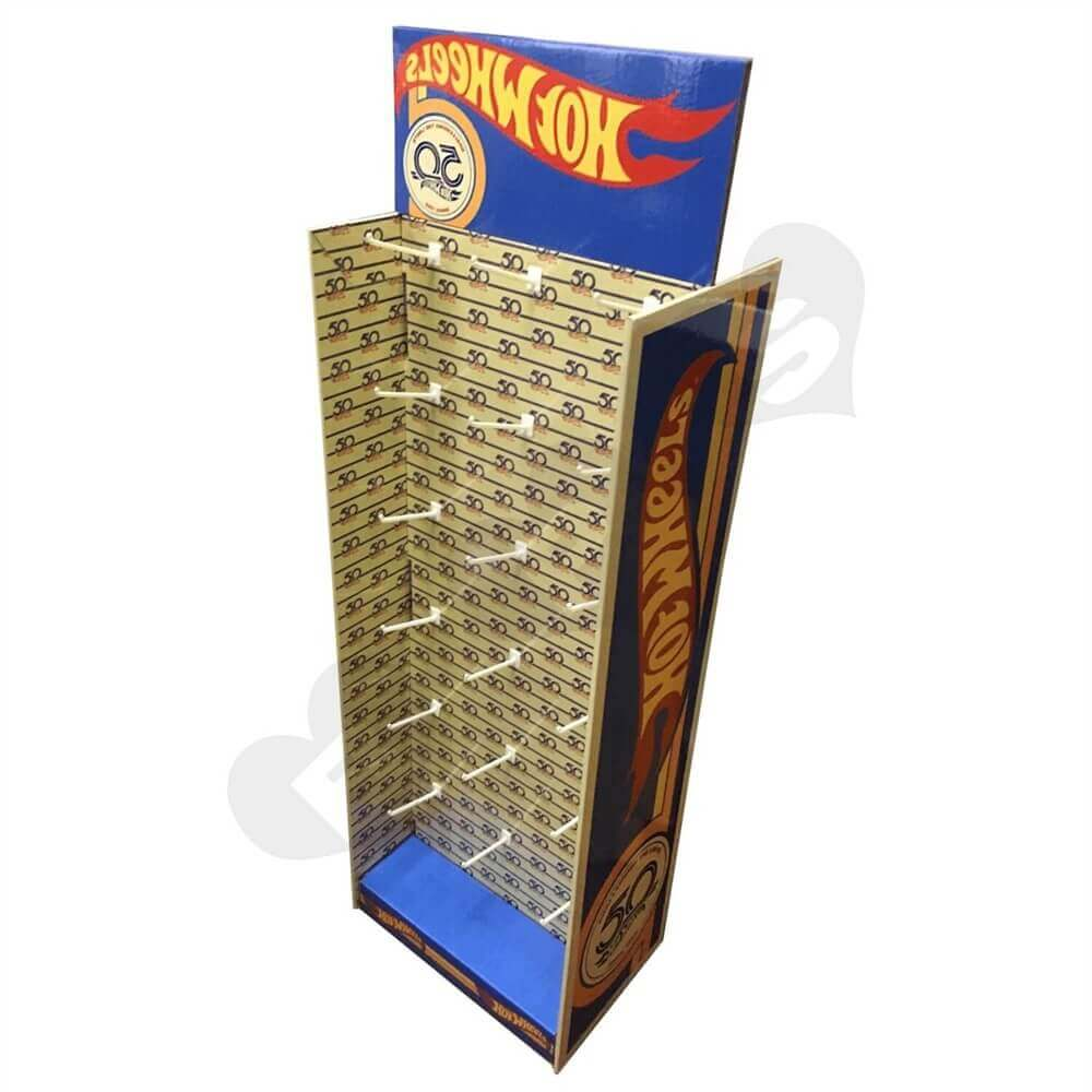 Custom Corrugated Hot Wheels Floor Stand with Hooks Sideview Two