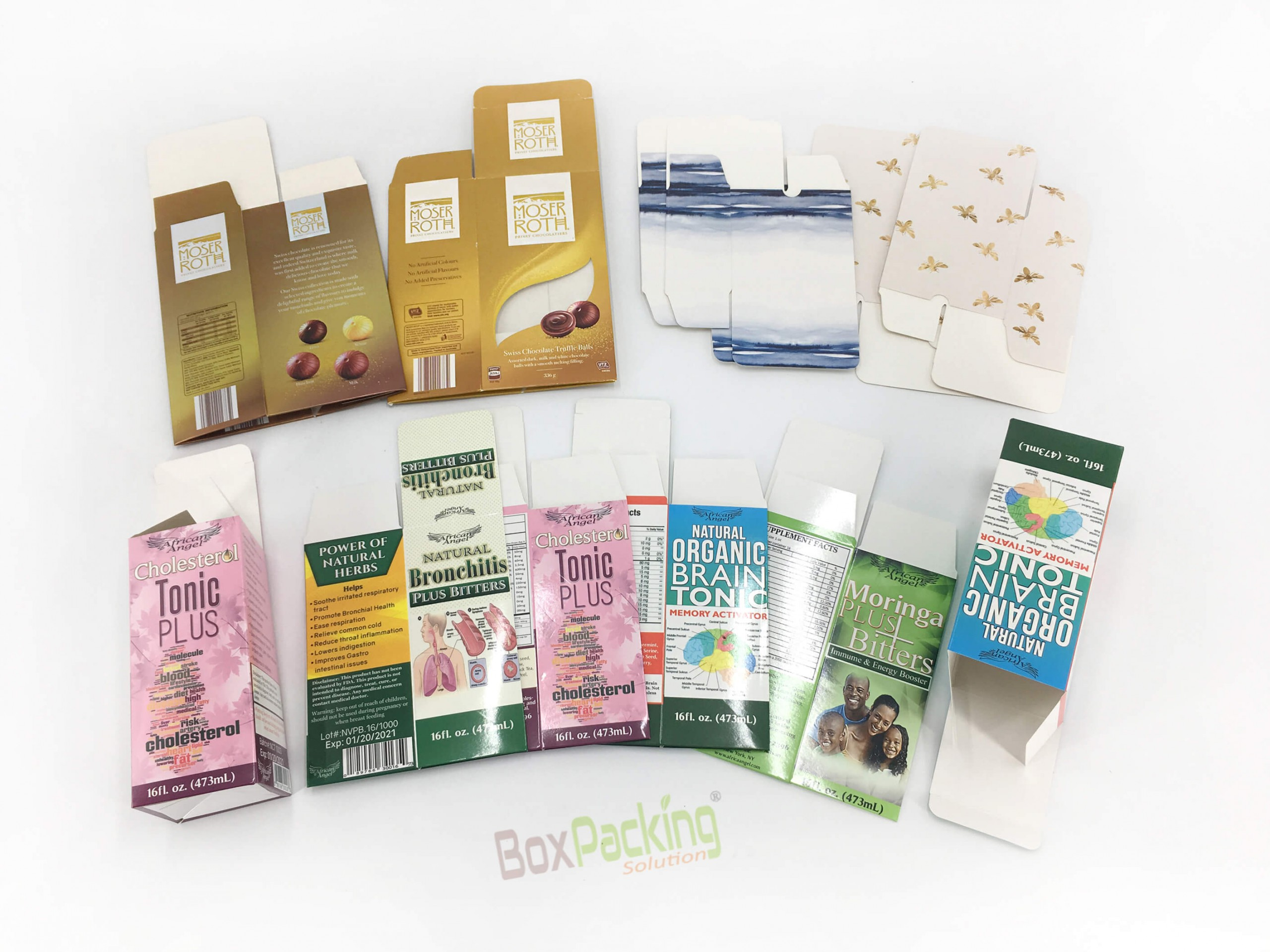 Custom Folding Cartons for Tonic and chocolates