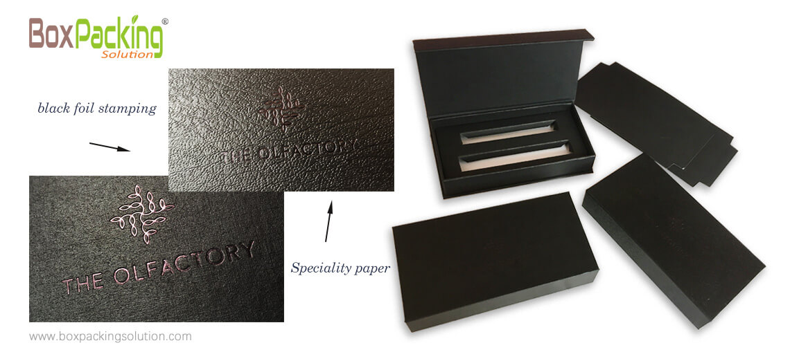 Custom Made Rigid Tooling Box With Black Foil Stamping