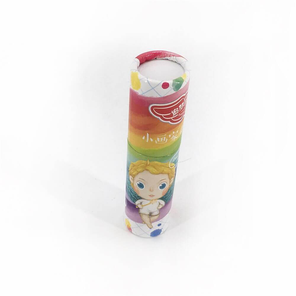 Custom Printed Crayon Cardboard Cylinder Side View One