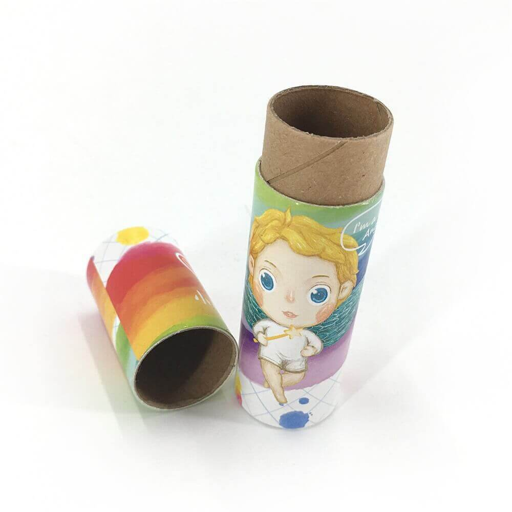 Custom Printed Crayon Cardboard Cylinder Side View Three