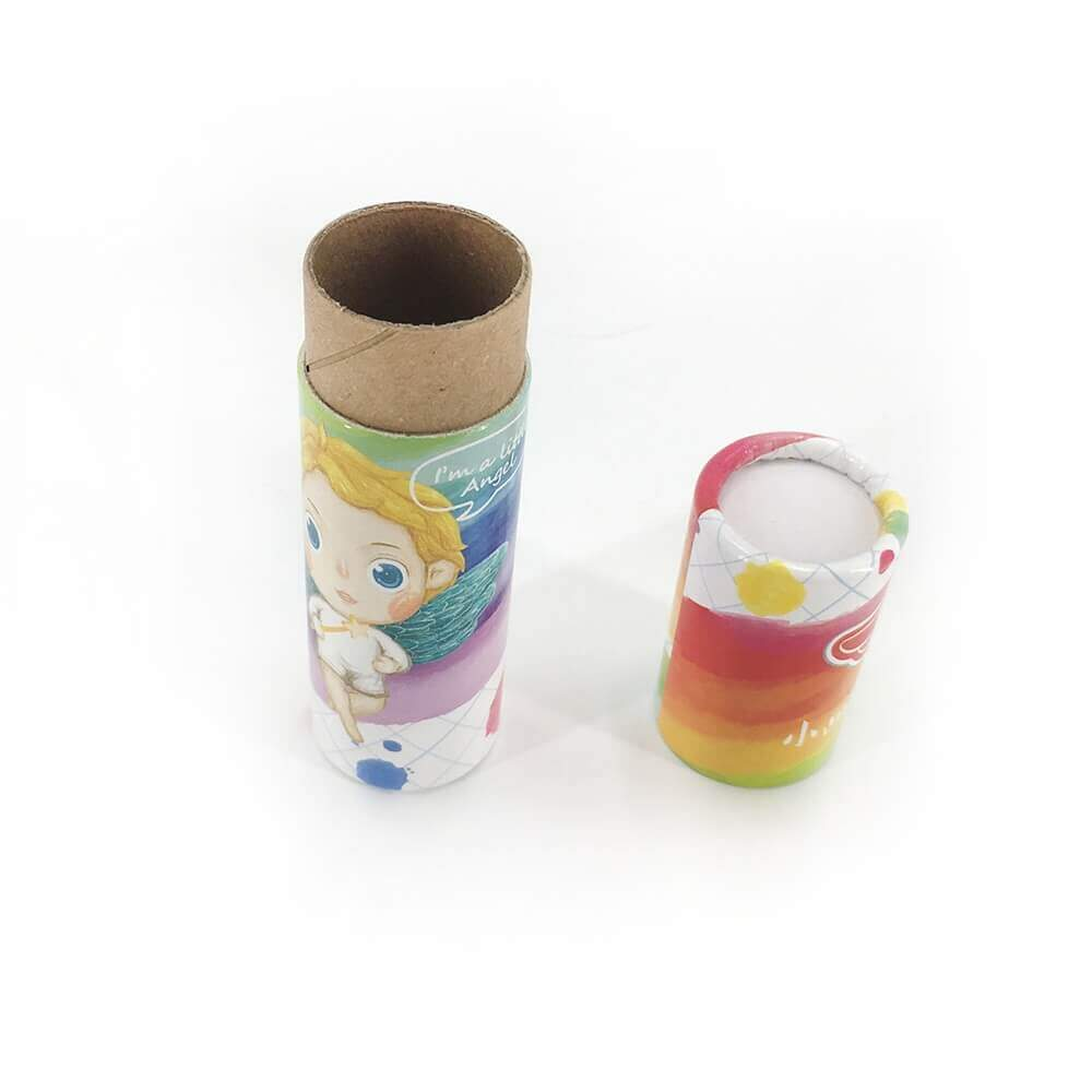 Custom Printed Crayon Cardboard Cylinder Side View Two