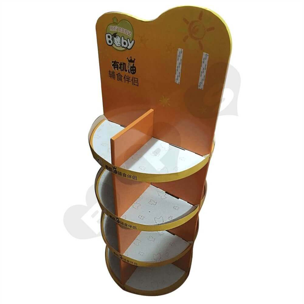 Custom Printed Round Corrugated Display Stand Sideview One