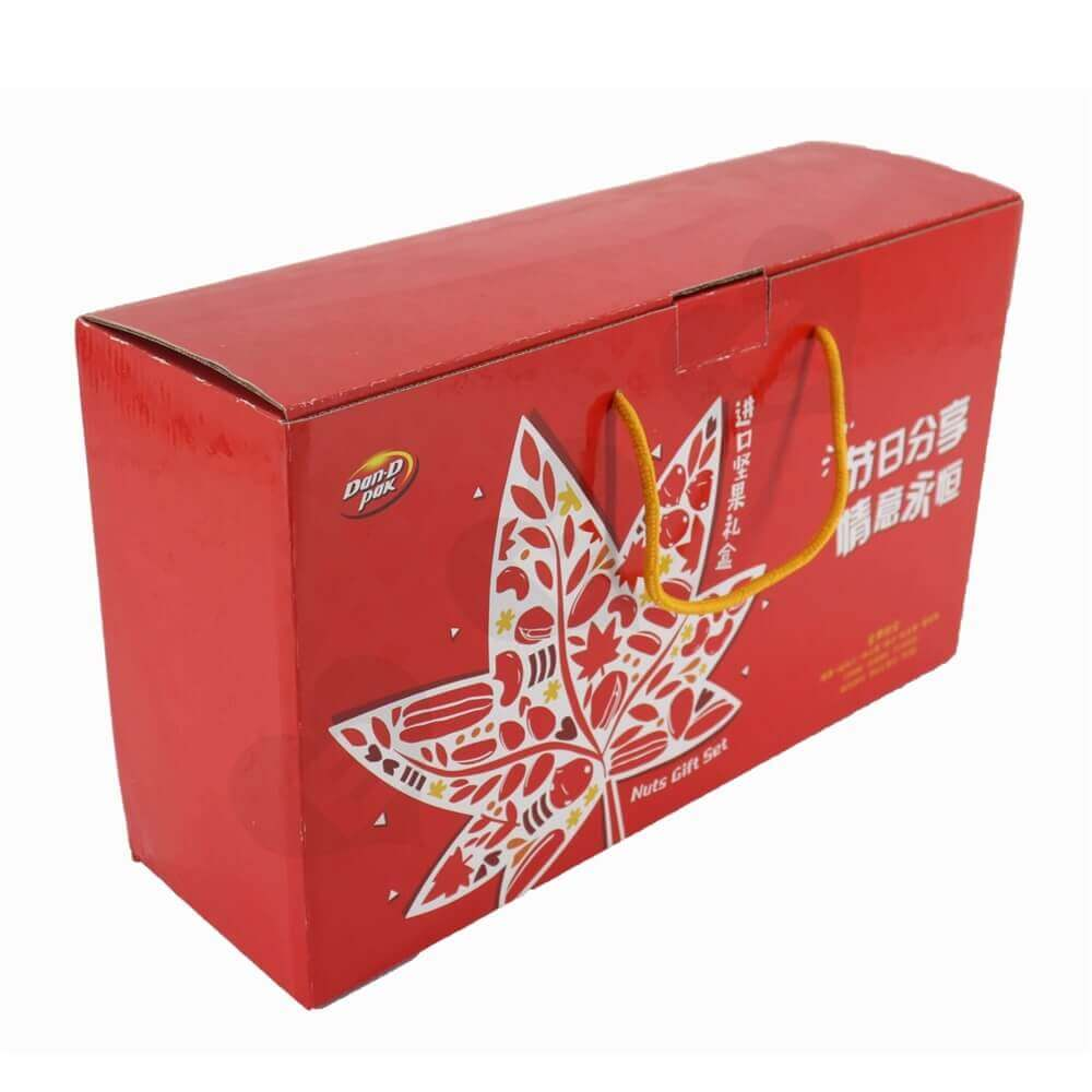 Dried Fruits And Nuts Gift Packaging Box With Nylon Handle Side View Four