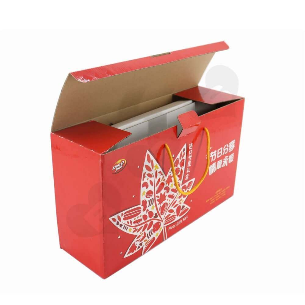 Dried Fruits And Nuts Gift Packaging Box With Nylon Handle Side View Three