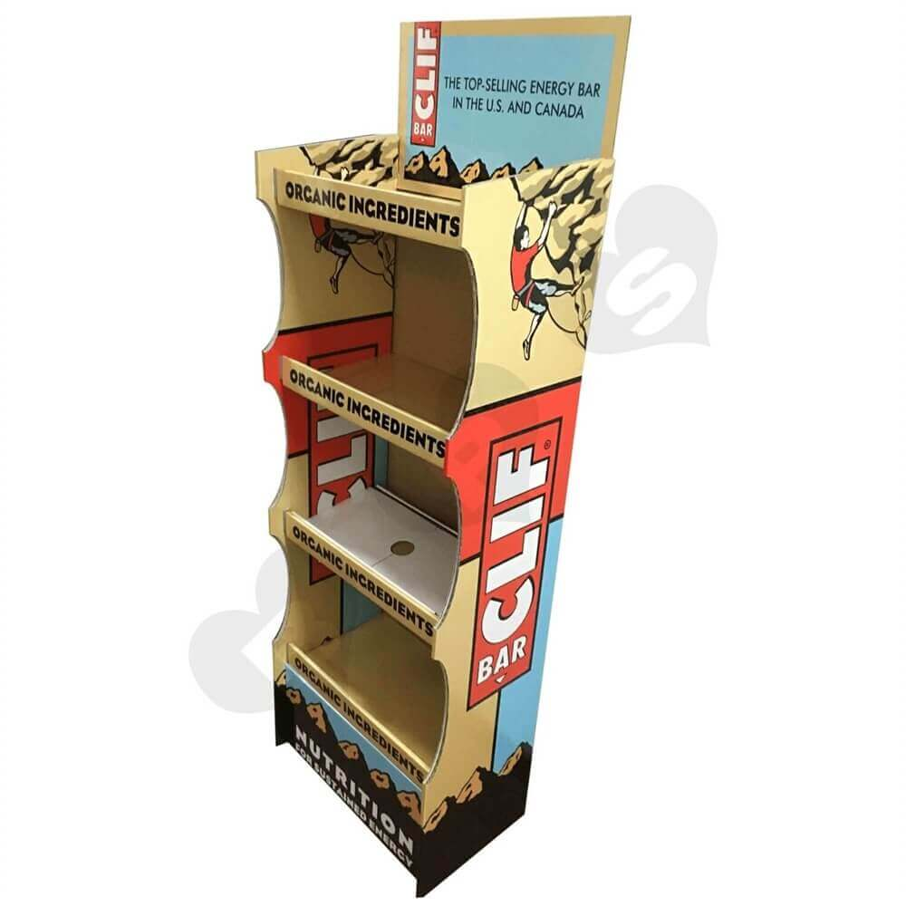 Energy Bar Corrugated Displays Floor Stand Sideview Three