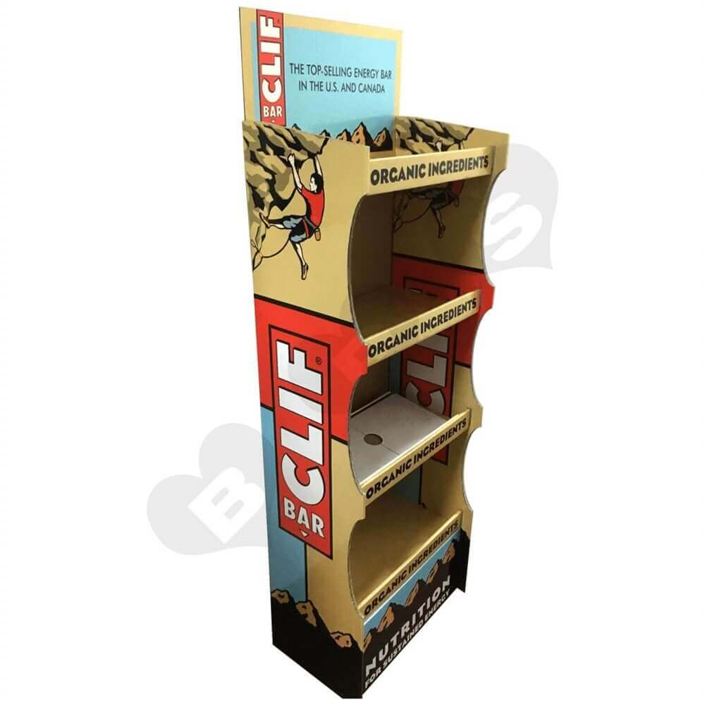 Energy Bar Corrugated Displays Floor Stand Sideview Two