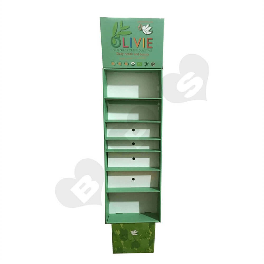 Large Customized Corrugated Floor Display Sideview One