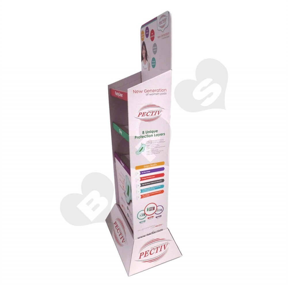 Large Sanitary Napkin Corrugated Floor Stands Sideview Seven