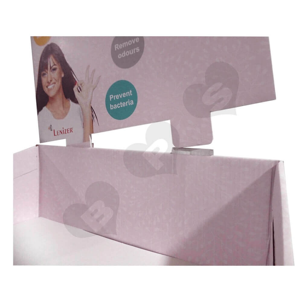 Large Sanitary Napkin Corrugated Floor Stands Sideview Three