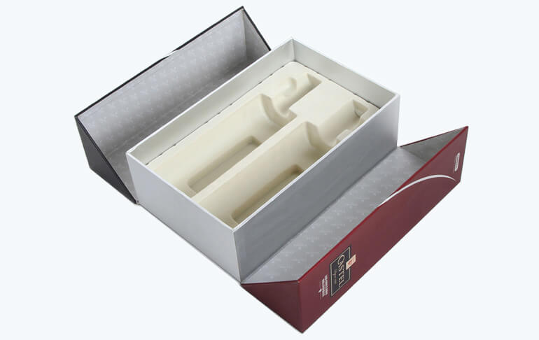 Luxury Red Wine Box With Flocking Blister Insert