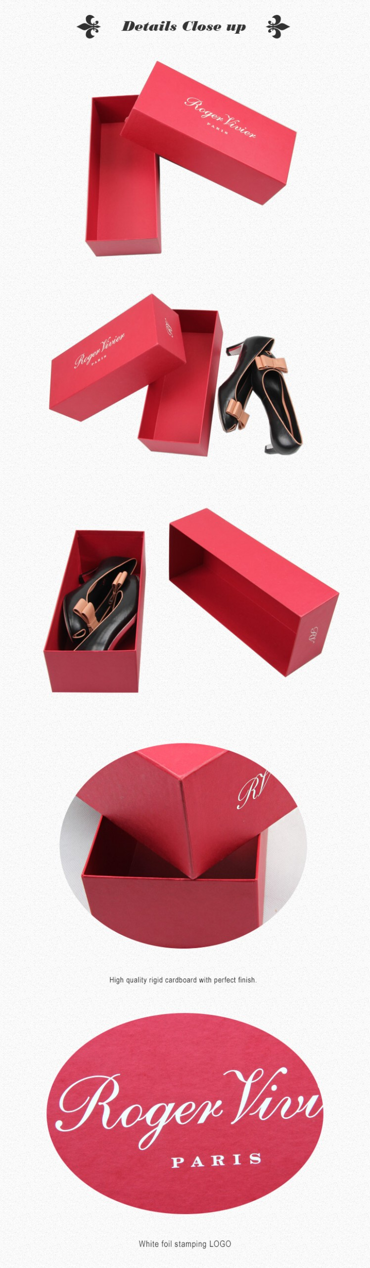 Rectangle Rigid Gift Box Custom Made Red Color